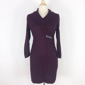 Calvin Klein S Cable Knit Faux Wrap Sweater Dress